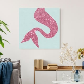 Oliver Gal 'Mermaid Tail Aqua' Fantasy and Sci-Fi Wall Art Canvas Print - Pink, Blue