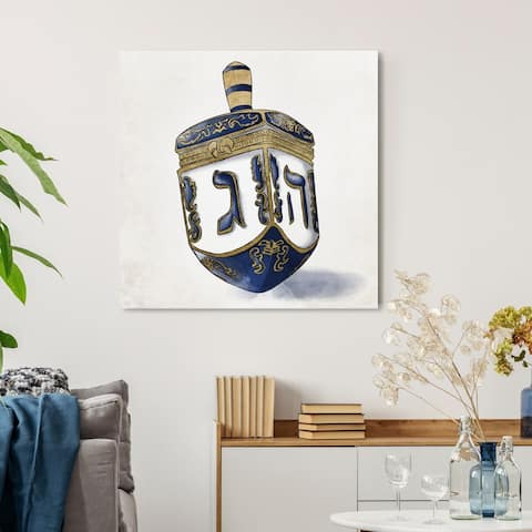 Oliver Gal 'Decorated Dreidel' Entertainment and Hobbies Wall Art Canvas Print - Blue, Gold