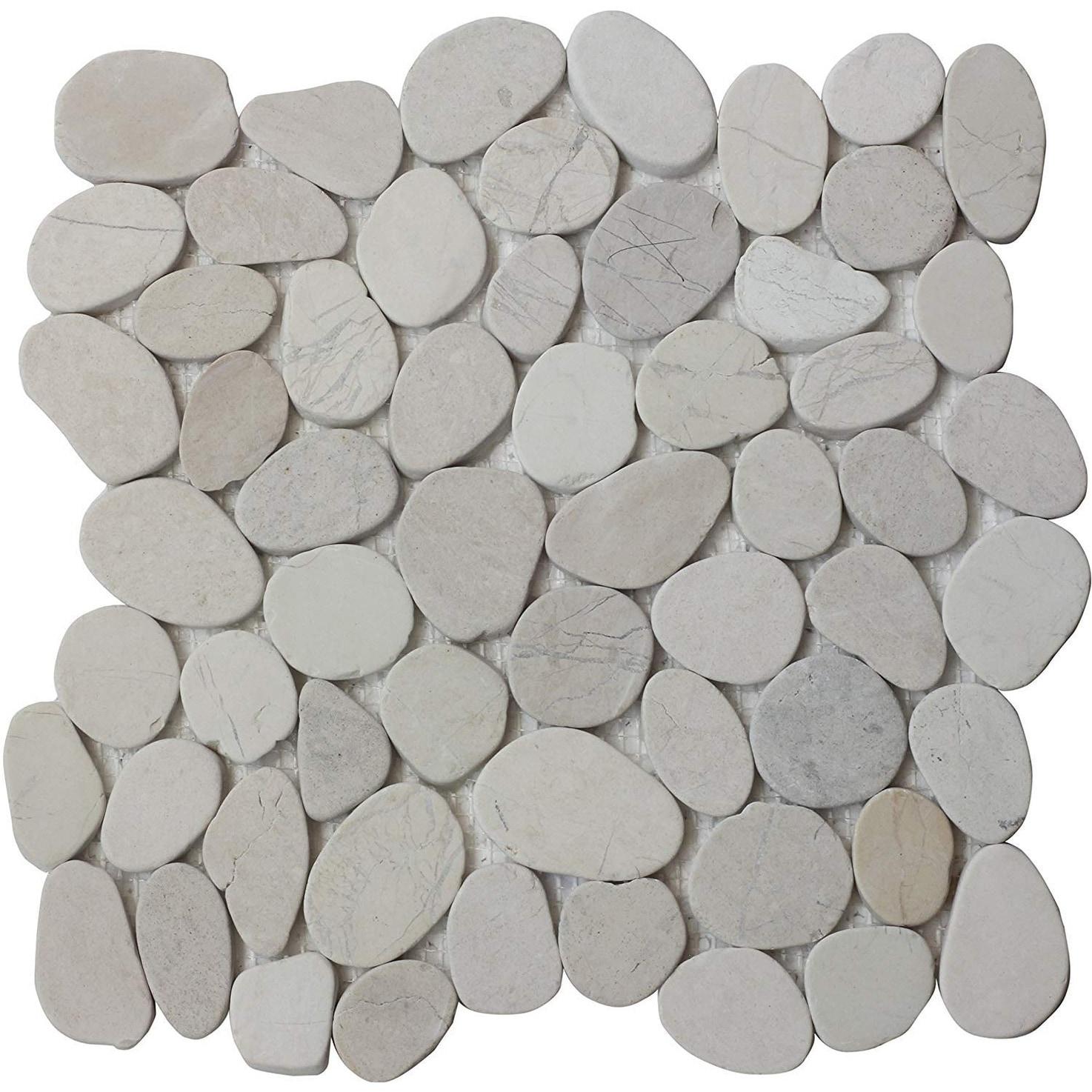 Island White Flat Pebble Mesh Tiles