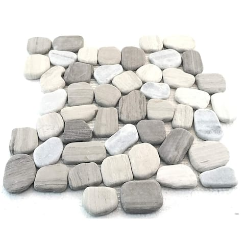 Interlocking Wood Age Flat Pebble Tile (5 Pack)- Kitchen, Bathroom, and Patio- Indoor and Outdoor