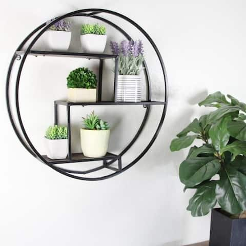 23 Inches Round wall-mounted Iron hanging storage shelves, Black - N/A