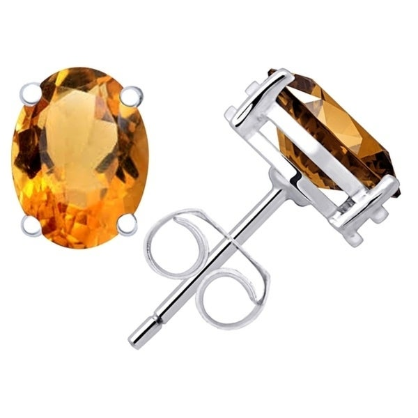 925 Sterling Silver Oval Citrine Ring Size 5 Stud Solitaire Earrings Set Cttw 2