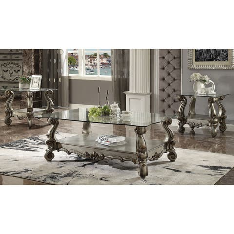 Traditional Style Wooden Coffee Table with Glass Top and Carving Details, Gray and Clear