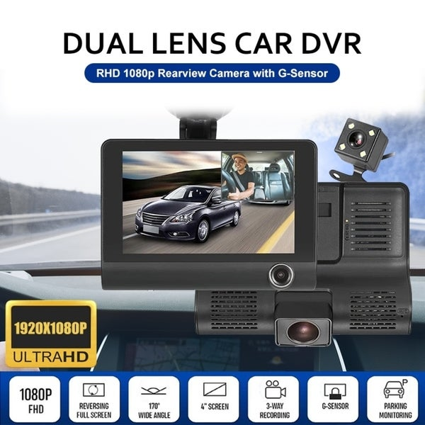 "4"" HD 1080P 3 Lens Rearview Backup Camera and Monitor Video System Car DVR Camera Video Recorder Dash Cam G-Sensor. Opens flyout."