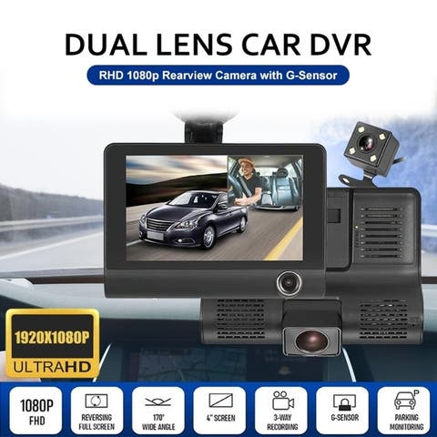 "4"" HD 1080P 3 Lens Rearview Backup Camera and Monitor Video System Car DVR Camera Video Recorder Dash Cam G-Sensor"