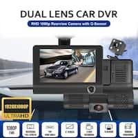 "4"" HD 1080P 3 Lens Rearview Backup Camera and Monitor Video System Car DVR Camera Video Recorder Dash Cam G-Sensor"