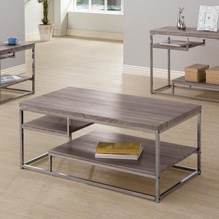 Anacortes Weathered Grey and Black Nickel 2-Shelf Coffee Table