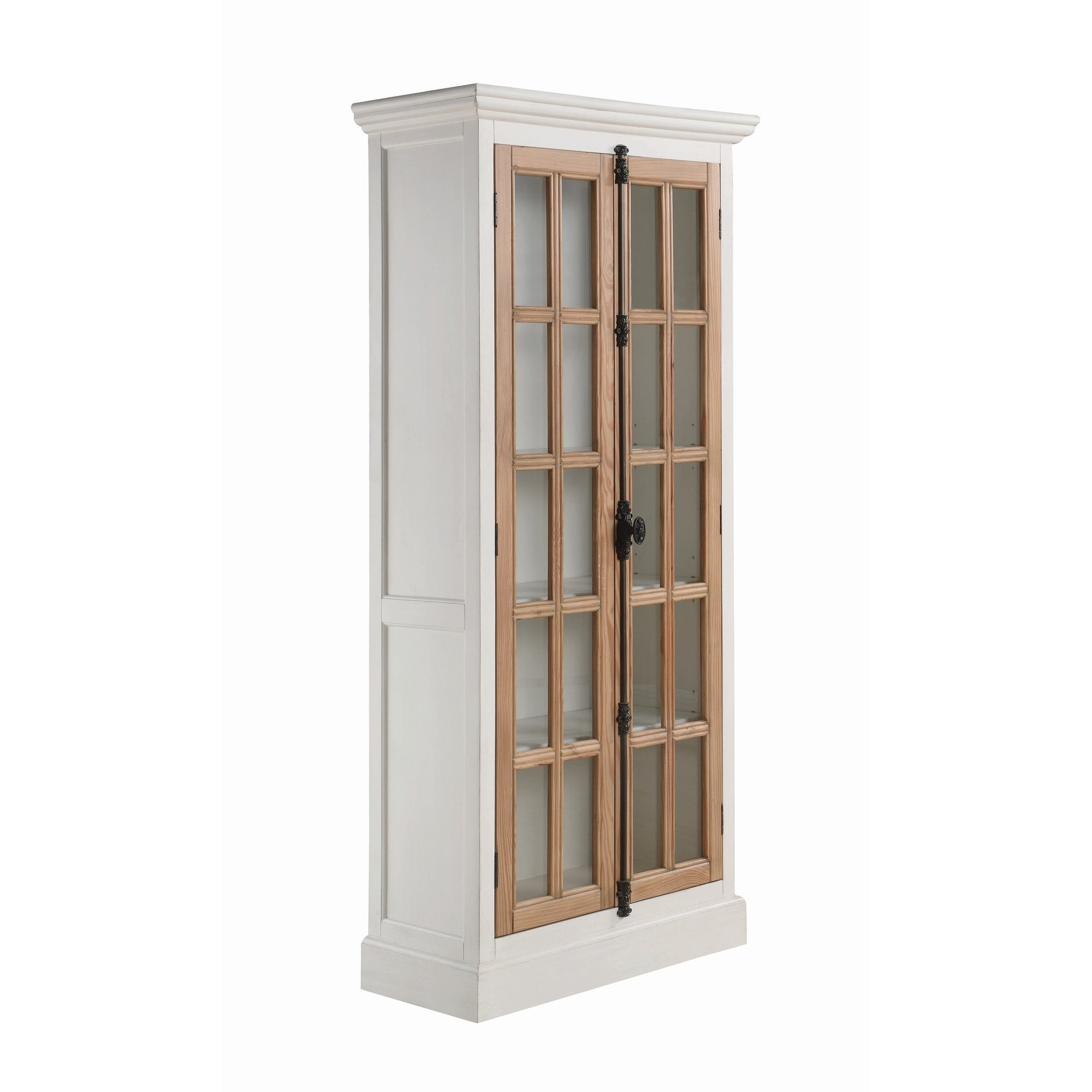 Janessa Antique White And Brown 2 Door Curio Cabinet