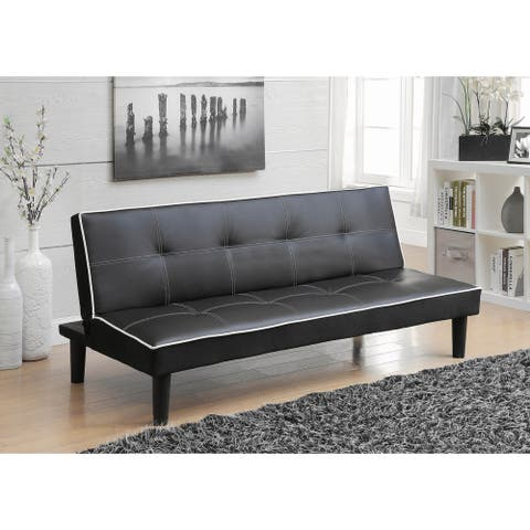 Cranston Black Armless Sofa Bed with Contrast Piping