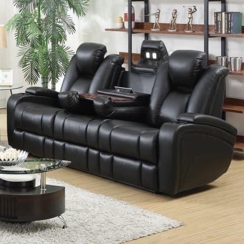 Starbuck Black Reclining Power Sofa with Adjustable Headrests