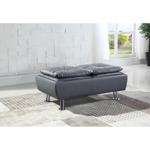 Isley Light Grey Tray Top Rectangular Storage Ottoman