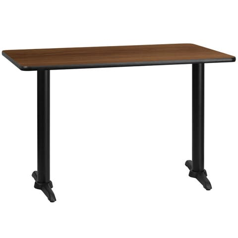 "Offex 30"" X 48"" Rectangular Walnut Laminate Table Top With 5"" X 22"" Table Height Bases - N/A"
