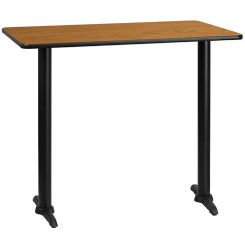 """Offex 30"""" X 48"""" Rectangular Natural Laminate Table Top With 5"""" X 22"""" Bar Height Table Bases"""