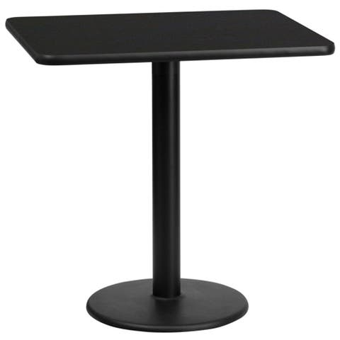 "Offex 24"" x 30"" Rectangular Black Laminate Table Top with 18"" Round Table Height Base - N/A"