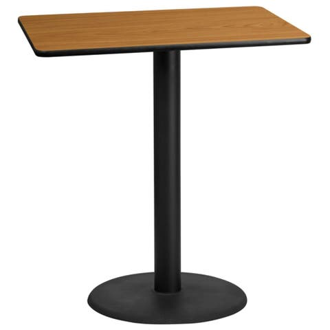 """Offex 30"""" X 42"""" Rectangular Natural Laminate Table Top With 24"""" Round Bar Height Table Base"""