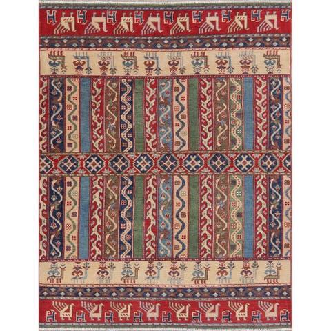 "Oriental Kazak Hand-Knotted Wool Traditional Pakistani Area Rug - 6'9"" x 5'3"""