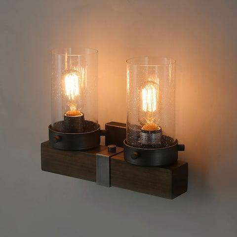 Makkovik 2-light Wood Vanity Light Industrial Wall Sconce by Havenside Home
