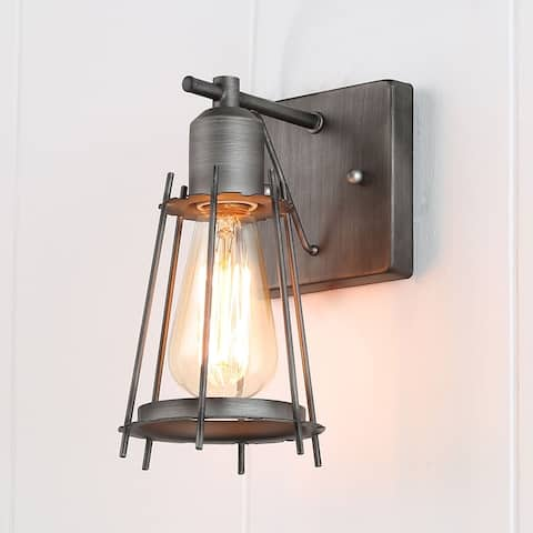 Manzanillo 1-light Metal Cage Industrial Silver Brushed Wall Sconce by Havenside Home