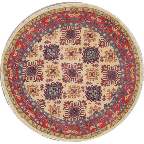 "Kazak Oriental Pakistani Hand-Knotted Wool Traditional Round Rug - 4'11"" x 4'11"" Round"