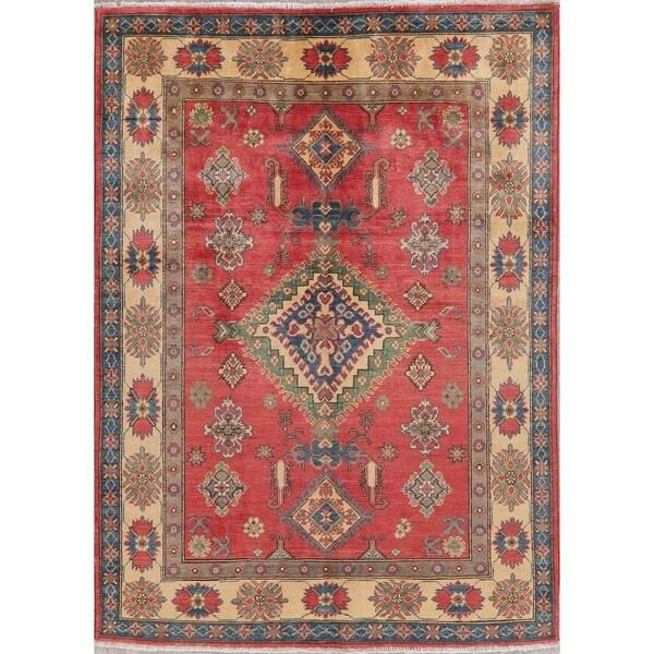 "Pakistani Kazak Oriental Hand-Knotted Traditional Wool Area Rug - 6'10"" x 5'0"""