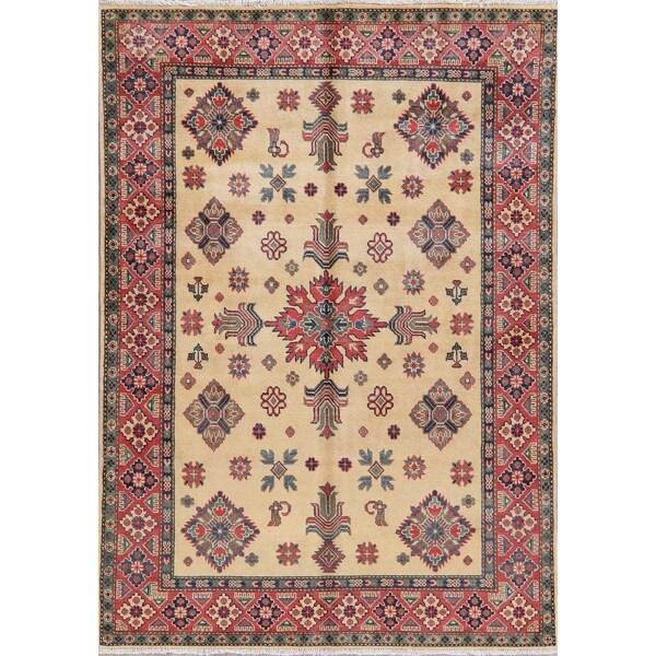 "Pakistani Kazak Oriental Hand-Knotted Wool Traditional Area Rug - 7'0"" x 4'11"""