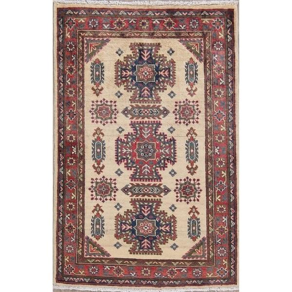 "Traditional Kazak Hand-Knotted Oriental Wool Pakistani Area Rug - 4'7"" x 3'0"""