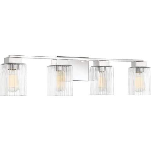 Quoizel Danson 4-light Clear Ribbed Glass Bath Light