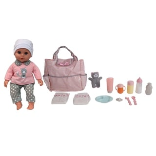 """Dream Collection 16"""" Pretend Play Baby Doll with Diaper Bag & Accessories Set"""