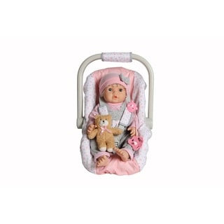 """Dream Collection My Dream 17"""" Pretend Play Baby Doll with Carrier Carseat"""