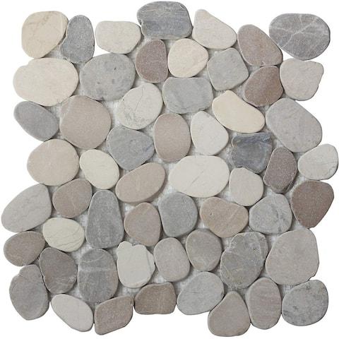 Interlocking Desert White Grey Tan Pebble Tiles (11-Pack) Kitchen, Bathroom, and Patio Flooring- Indoor and Outdoor Use