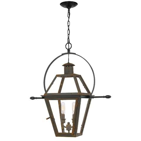 Quoizel Rue De Royal Industrial Bronze 2-light Outdoor Hanging Lantern
