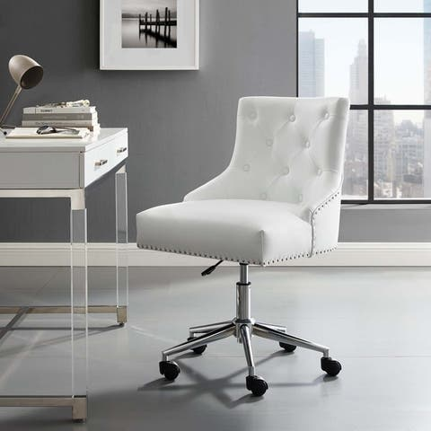 Carbon Loft Mullally Tufted Button Swivel Faux Leather Office Chair