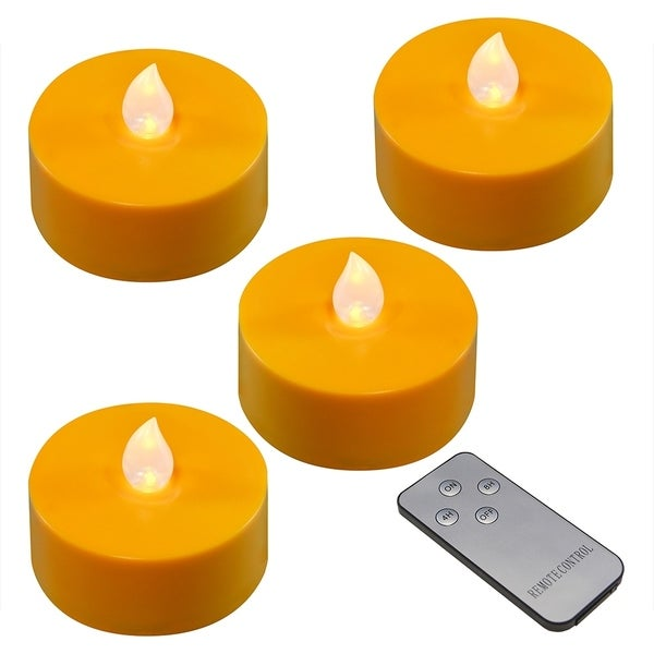 Orange Battery Operated Extra Large Tea Lights- Set of 4