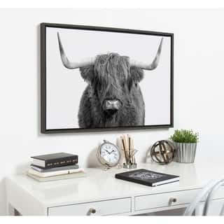 Kate and Laurel Sylvie Highland Cow Framed Canvas By Amy Peterson