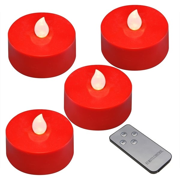Red Battery Operated Extra Large Tea Lights- Set of 4