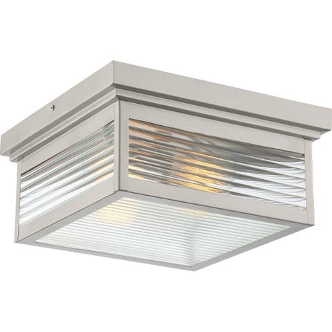 Quoizel Gardner Stainless Steel 2-light Outdoor Flush Mount
