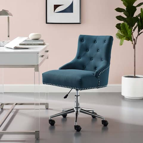 Regent Tufted Button Swivel Upholstered Fabric Office Chair