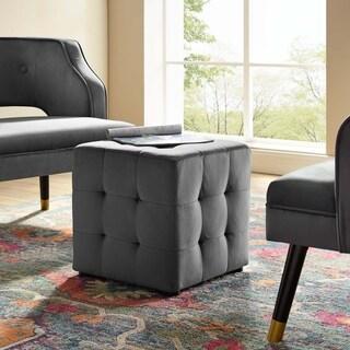 Porch & Den Croeni Velvet Tufted Button Cube Ottoman