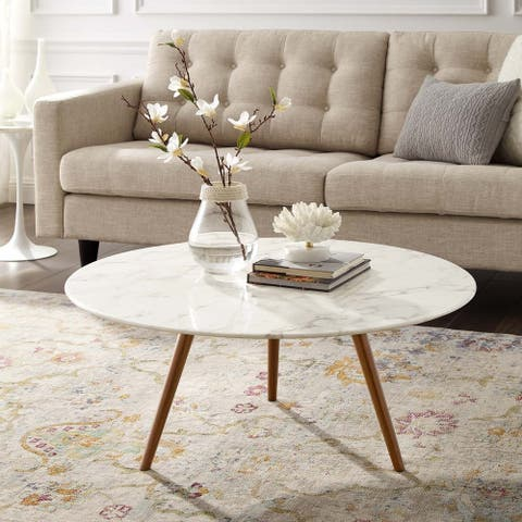 Carson Carrington Bata Round Artificial Marble Coffee Table