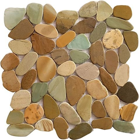 Interlocking Bali Mix Pebble Floor Tiles (11-Pack) Kitchen, Bathroom, and Patio Flooring -Indoor and Outdoor