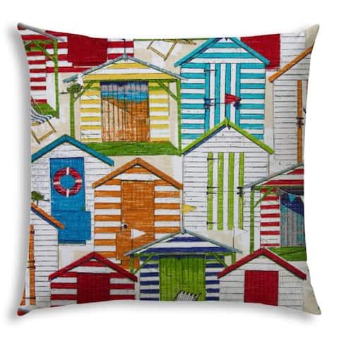 BEACH VILLAGE Red Jumbo Indoor/Outdoor - Zippered Pillow Cover