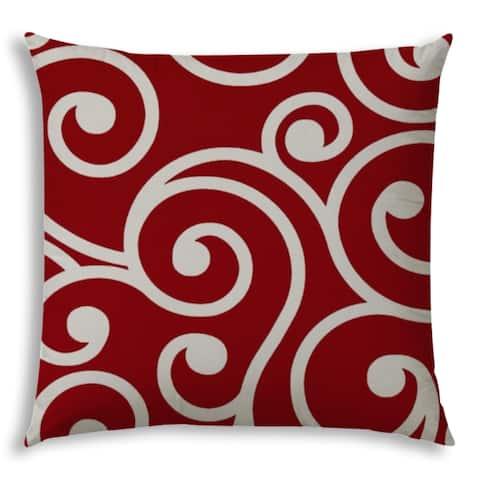 Serki Red Swirls Jumbo Indoor/Outdoor Zippered Pillow Cover by Havenside Home