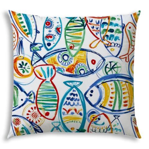 SCHOOLING FISH Yellow Jumbo Indoor/Outdoor - Zippered Pillow Cover