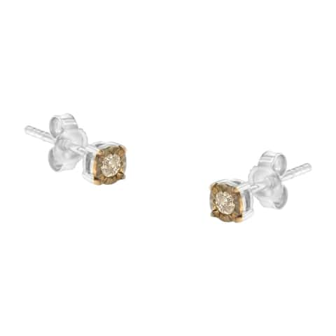 Two Tone Sterling Silver 1/10ct TDW Diamond Miracle-Plated Stud Earrings (Champagne,I2-I3)