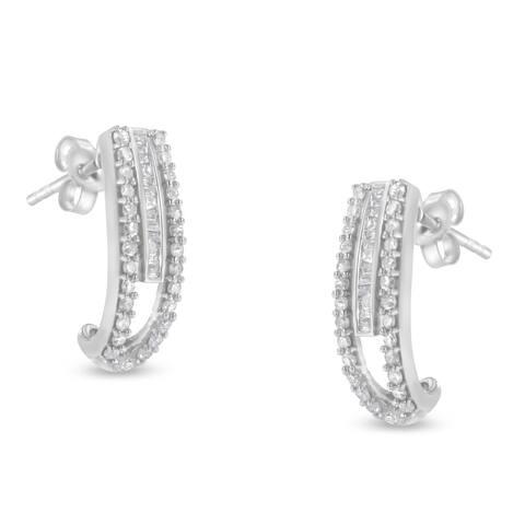 Sterling-Silver 3/4ct TDW Diamond J-Stud Earring (I-J, I3)