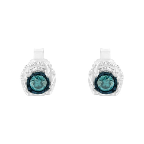I2-I3 1//4ct TDW Blue Round Cut Diamond Stud Earrings in Sterling Silver