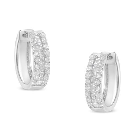 Sterling-Silver 1/2ct TDW Diamond Hoop Earrings (I-J, I2-I3)