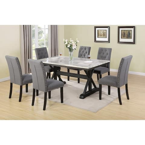 Best Quality Furniture Faux Marble Table Top 7-Piece Dining Set