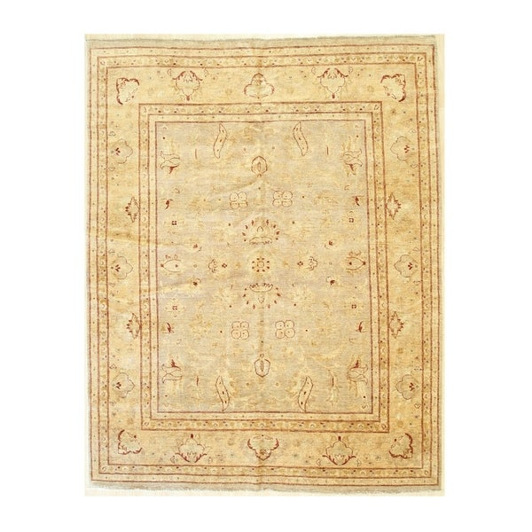 Beige/mocha Hand-knotted Wool Traditional Oushak Rug - 7'11 x 10' 1