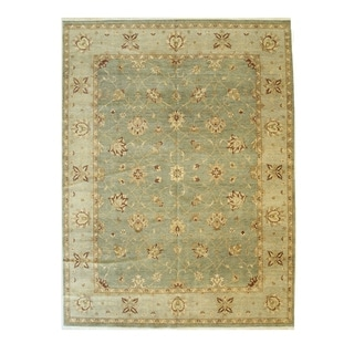 Apple-green Hand-knotted Wool Traditional Agra Rug - 9' x 12' 1